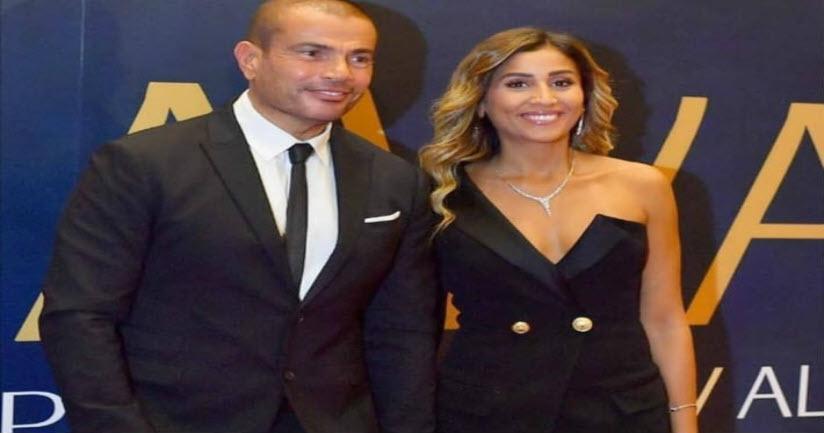 بالفيديو.. عمرو دياب يقبل دينا الشربيني في حفل زفاف نجل هاني شاكر